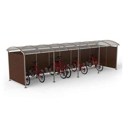 20-ies vietų dviračių stoginė iš plieno, polikarbonato ir medienos lentų baltame fone