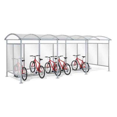 15 - os vietų dviračių stoginė su sienelėm iš plieno ir polikarbonato baltame fone
