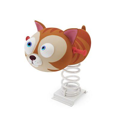 Spyruokliukas su kačiuko figūra iš poliesterio, grūdinto plieno baltame fone