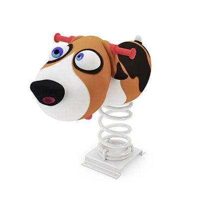 Spyruokliukas su šuniuko figūra iš poliesterio, grūdinto plieno baltame fone