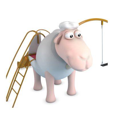 Žaidimų kompleksas su aviuko figūra iš poliesterio, grūdinto plieno baltame fone