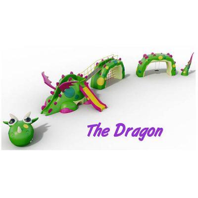 Žaidimų kompleksas su drakono figūra iš poliesterio, grūdinto plieno baltame fone
