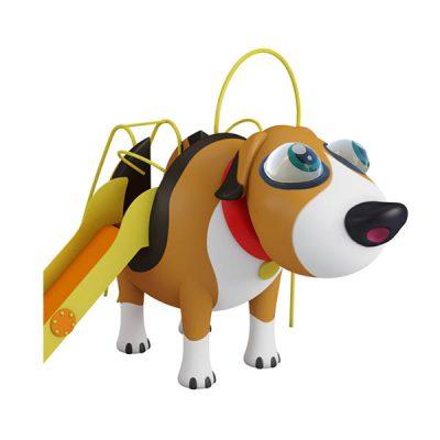 Žaidimų kompleksas su šuniuko figūra iš poliesterio, grūdinto plieno baltame fone