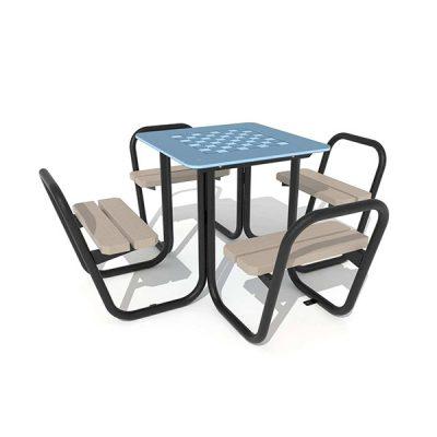 Lauko šachmatų stalas iš plieno ir kompozito baltame fone